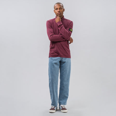 Stone Island Long Sleeve Polo in Burgundy - Notre