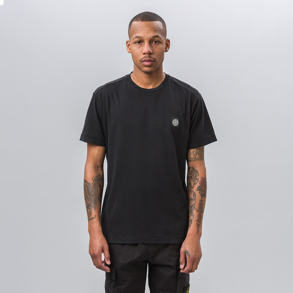 Garment Dyed Short Sleeve Logo Tee in Black