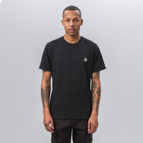 Stone Island Garment Dyed Short Sleeve Logo Tee in Black - Notre