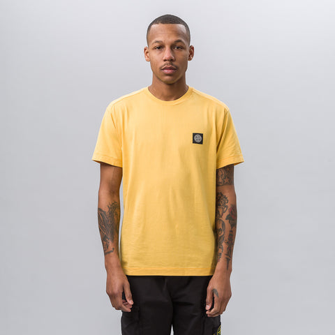 Stone Island Garment Dyed Short Sleeve Logo Tee in Yellow - Notre