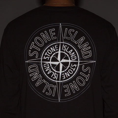 Stone Island Reflective Compass Logo Tee in Black - Notre