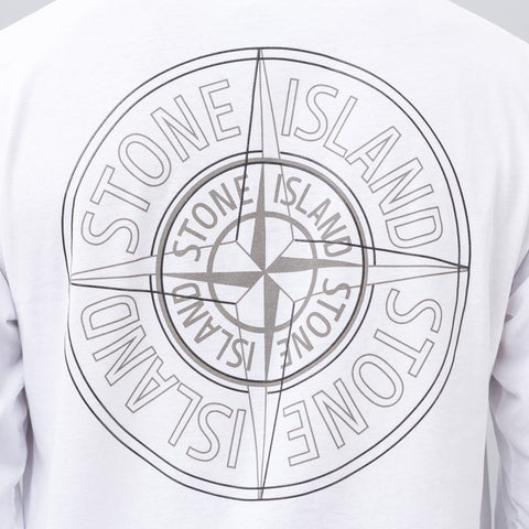 Stone Island Reflective Compass Logo Tee in White - Notre