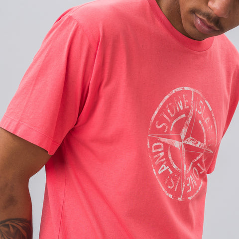 Stone Island Compass Logo Tee in Coral - Notre