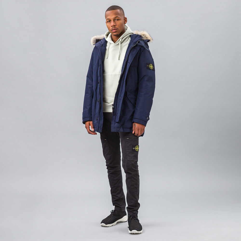 Stone Island 41926 Micro Reps Down Coat in Navy Model Shot