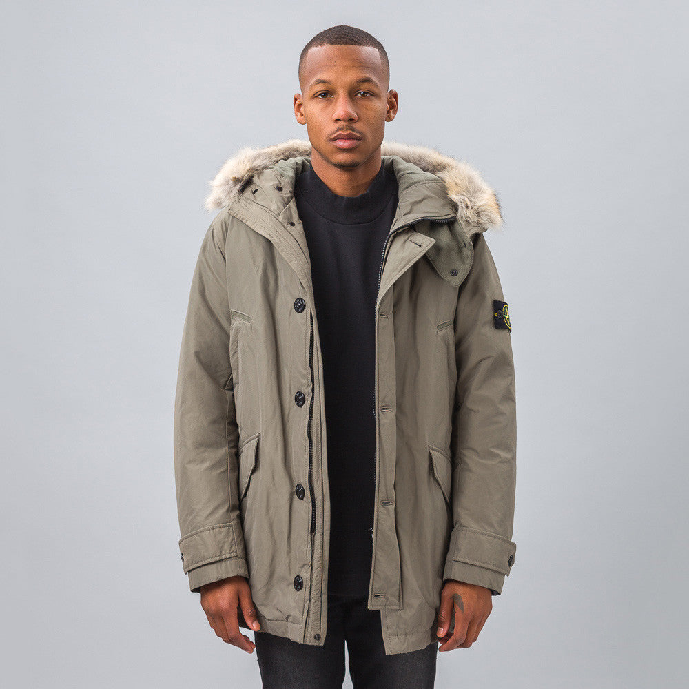 Stone Island 41926 Micro Reps Down Coat in Olive Model Shot