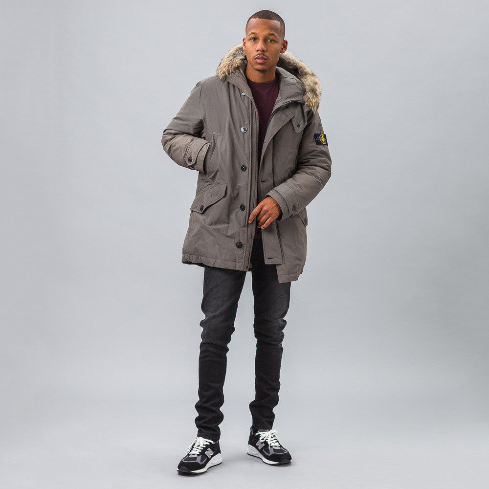 Stone Island 41926 Micro Reps Down Coat in Steel Model Shot