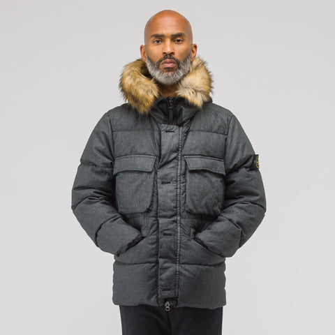 Stone Island 42833 Down-TC Lino Resinato Coat in Black - Notre