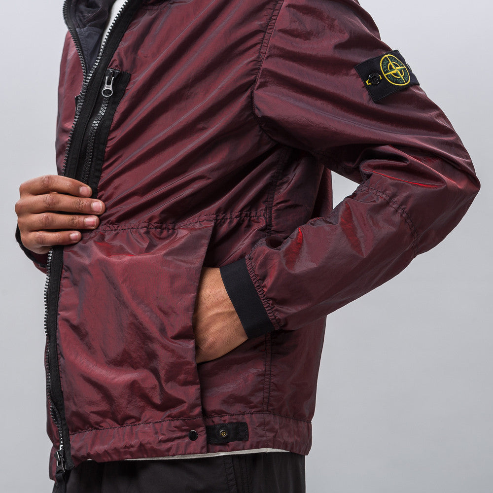 42848 Nylon Metal Jacket in Burgundy