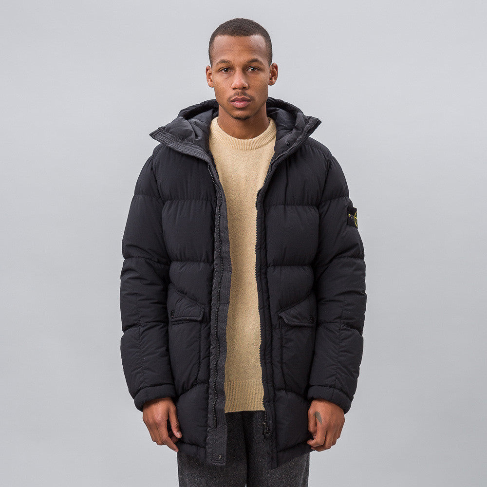 Stone Island 43232 Garment Dyed Organic Feel Tela NY Down Coat in Black