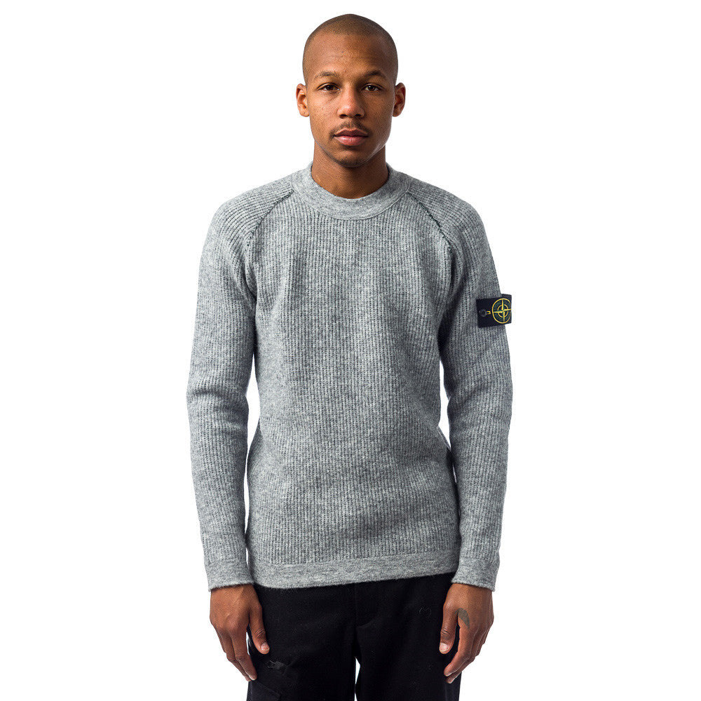 Stone Island 518D1 Maglia Reversible Sweater in Grey Model SHot