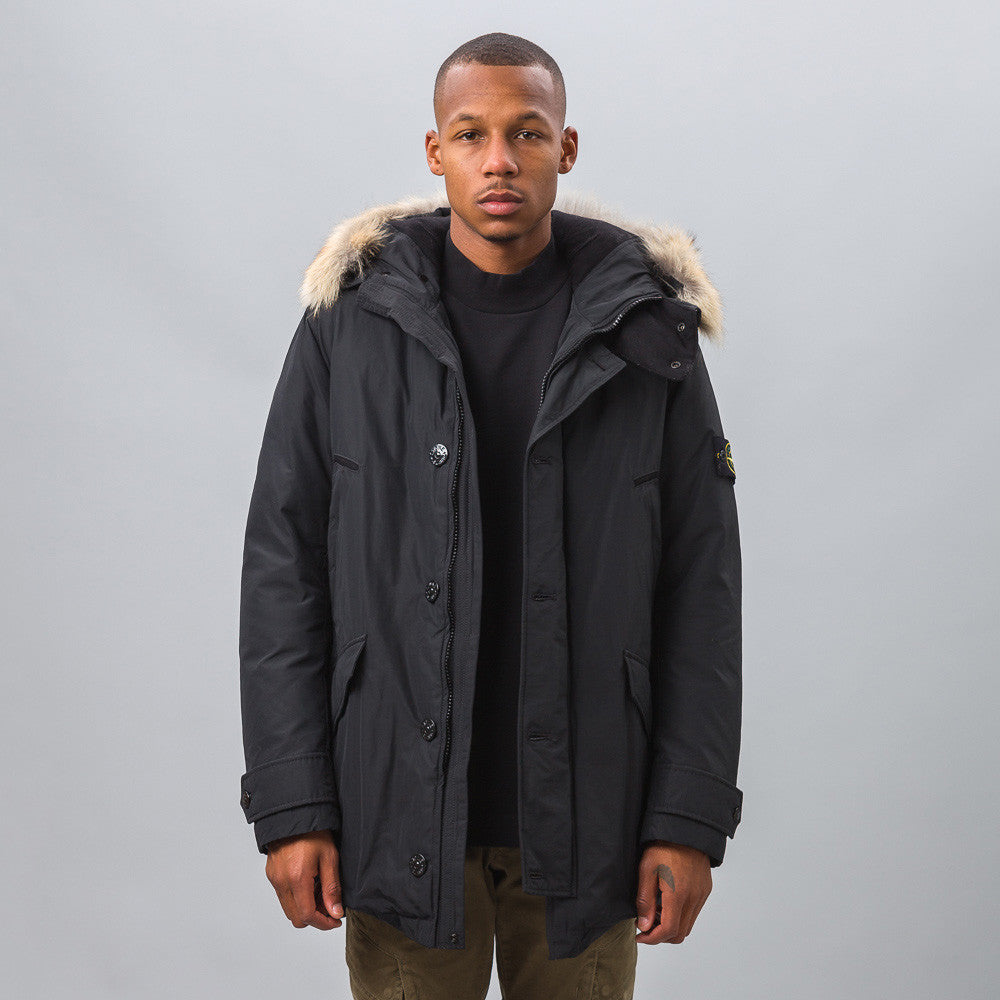 Stone Island 41926 Micro Reps Down Coat in Black Model Shot