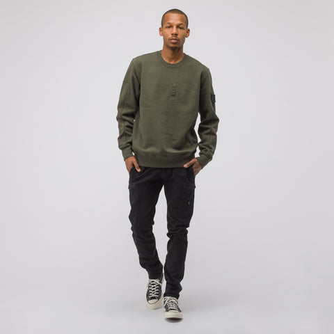 Stone Island Shadow Project 60107 Diagonal Weave Crewneck in Olive - Notre