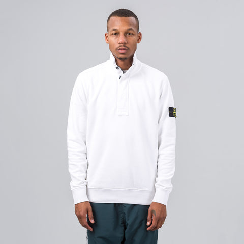 Stone Island 60120 Raised Collar Fleece Sweatshirt in White - Notre