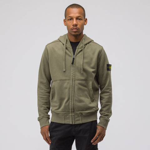 Stone Island 60220 Zip-Up Sweatshirt in Olive - Notre