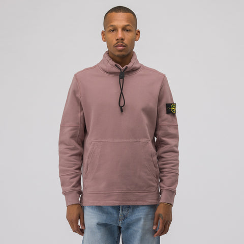 Stone Island 61720 High Collar Sweatshirt in Rose Quartz - Notre