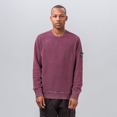 Stone Island Garment Dyed Frost Patch Sweatshirt in Burgundy - Notre