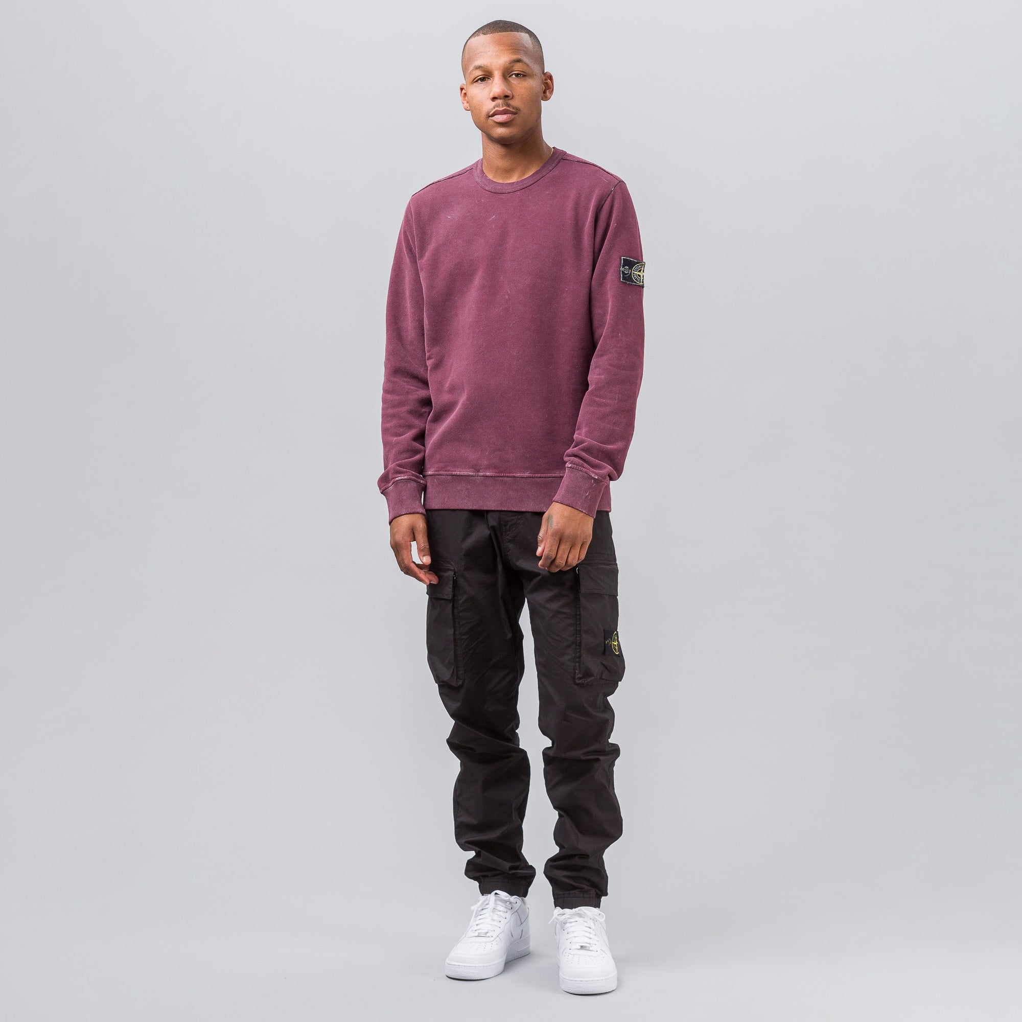 Garment Dyed Frost Patch Sweatshirt in Burgundy