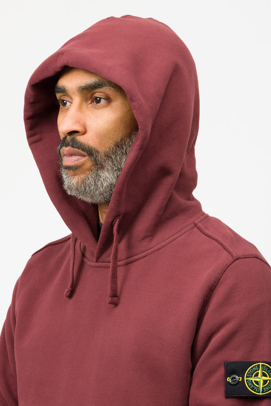 Stone Island 62820 Hooded Sweatshirt in Dark Burgundy - Notre