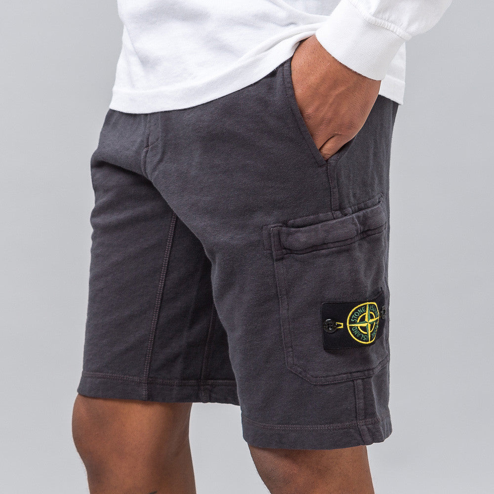 Stone Island Garment Washed Fleece Short in Charcoal Notre 1