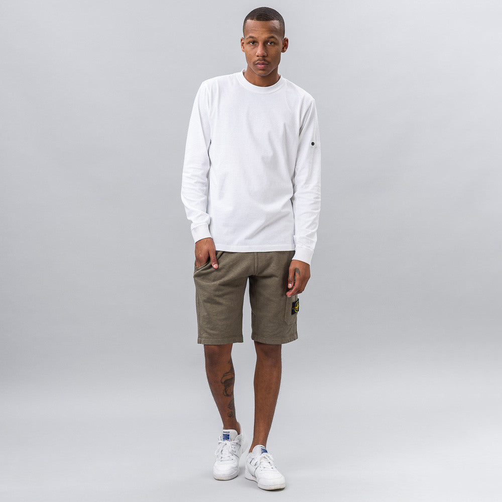 Stone Island Garment Washed Fleece Short in Sage Green Notre 1