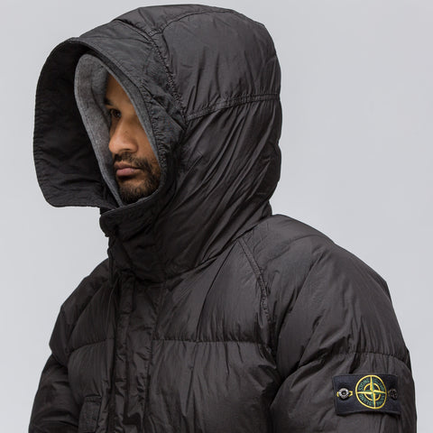 Stone Island 70223 Garment Dyed Crinkle Reps NY Down Coat in Black - Notre