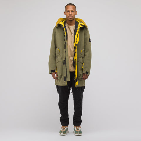 Stone Island 71229 Man Made Suede Coat in Olive - Notre