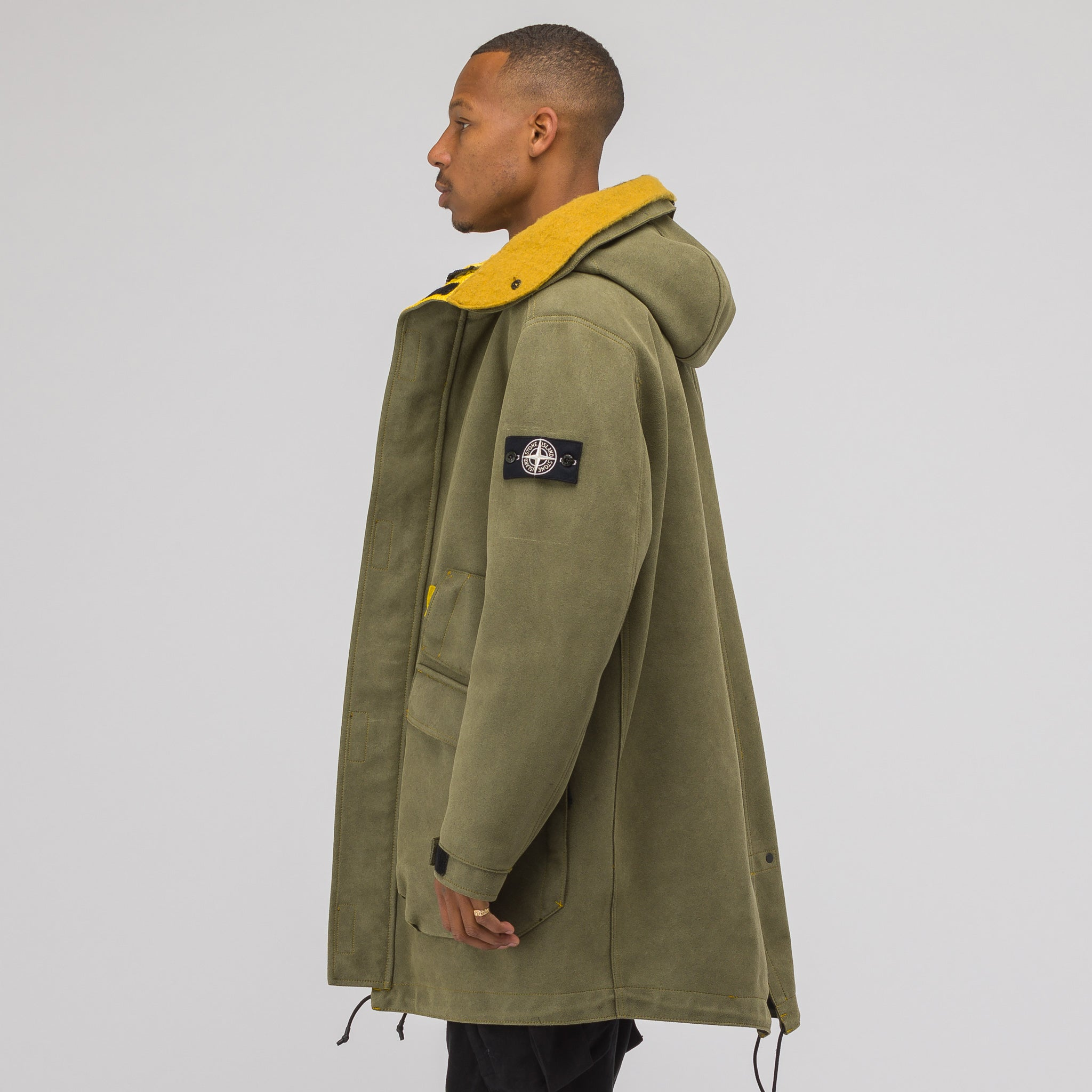 71229 Man Made Suede Coat in Olive