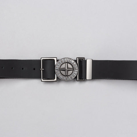 Stone Island Leather Logo Belt in Black - Notre