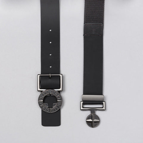 Stone Island Leather Logo Belt in Black Notre 1