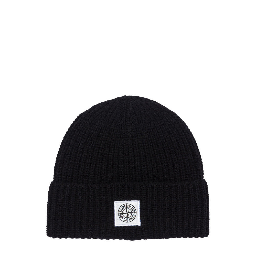 Stone Island N26A7 Compass Logo Knit Hat in Black