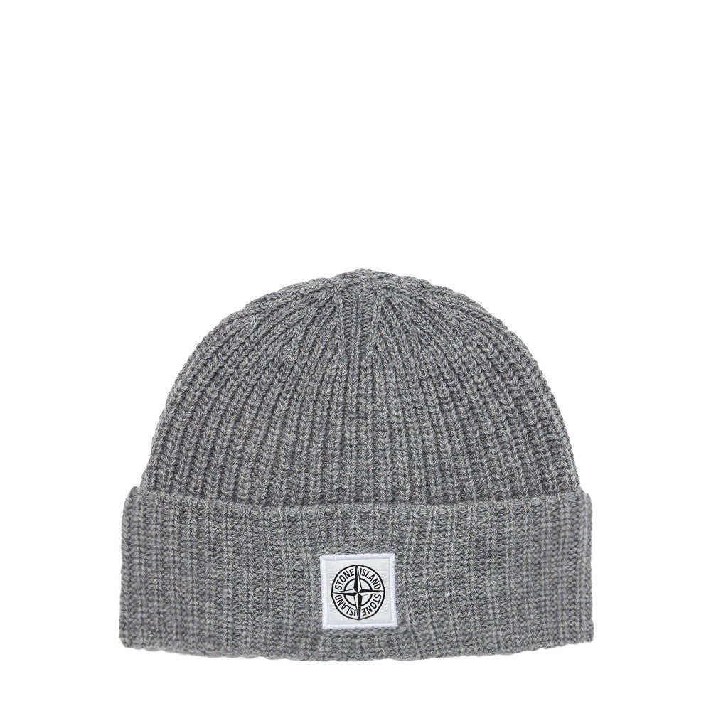Stone Island - N26A7 Compass Logo Knit Hat in Grey - Notre - 1