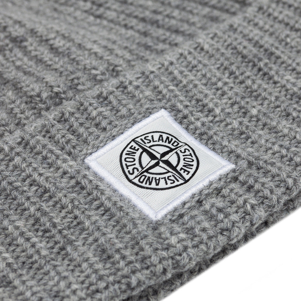 Stone Island N26A7 Compass Logo Knit Hat in Grey Front View