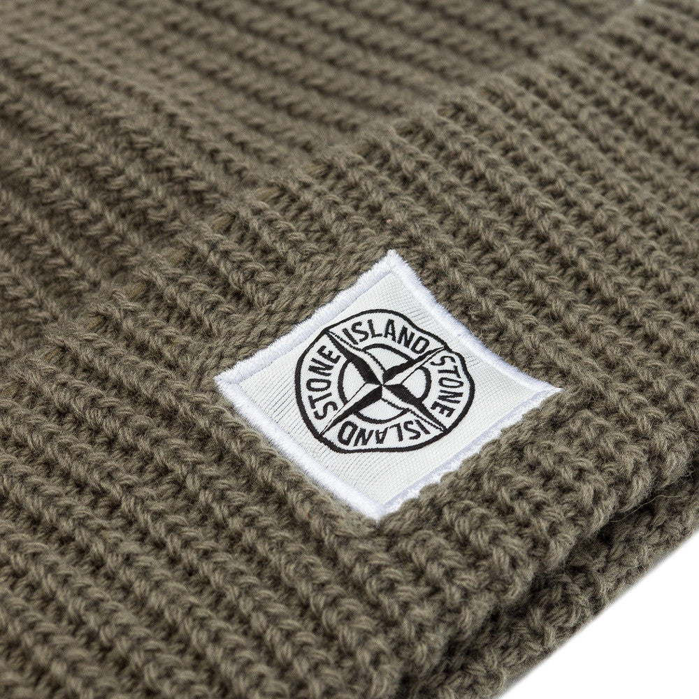 Stone Island N26A7 Compass Logo Knit Hat in Sage Green
