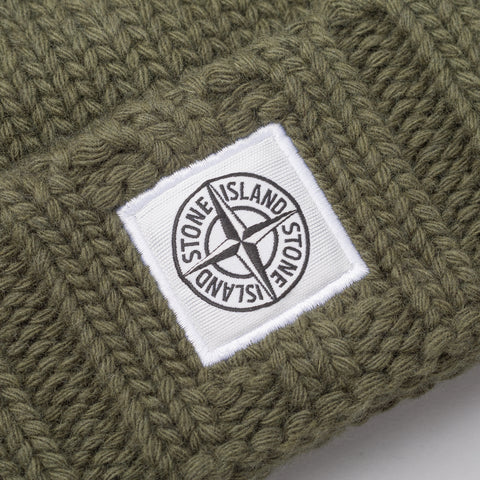 Stone Island N07C1 Knit Logo Cap in Olive - Notre