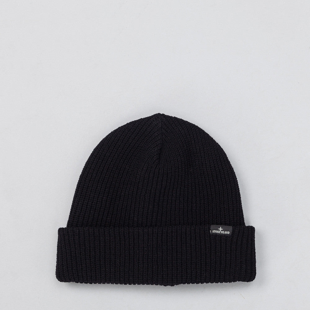 Stone Island N24C8 Knit Hat in Black Front View