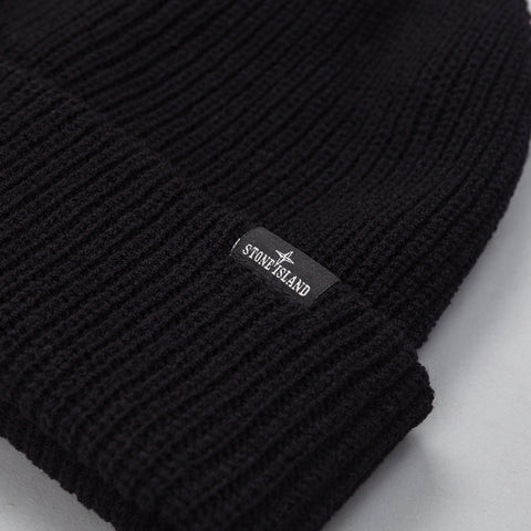 Stone Island - N24C8 Knit Hat in Black - Notre - 1