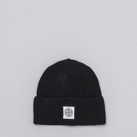 Stone Island Lambswool Blend Knit Beanie in Black - Notre