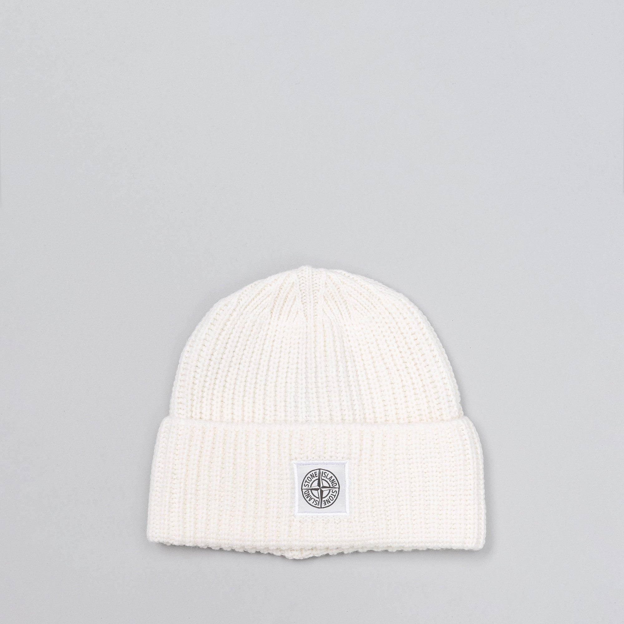 Lambswool Blend Knit Beanie in White