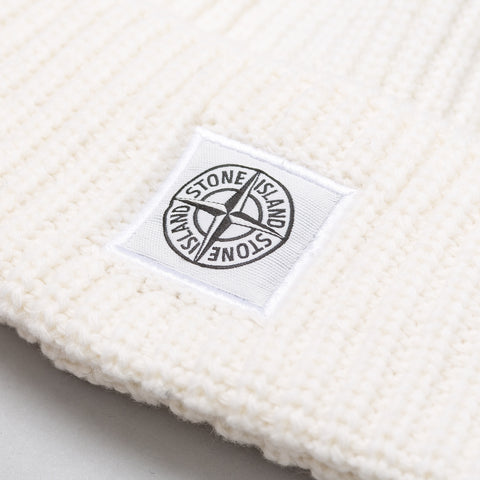 Stone Island Lambswool Blend Knit Beanie in White - Notre