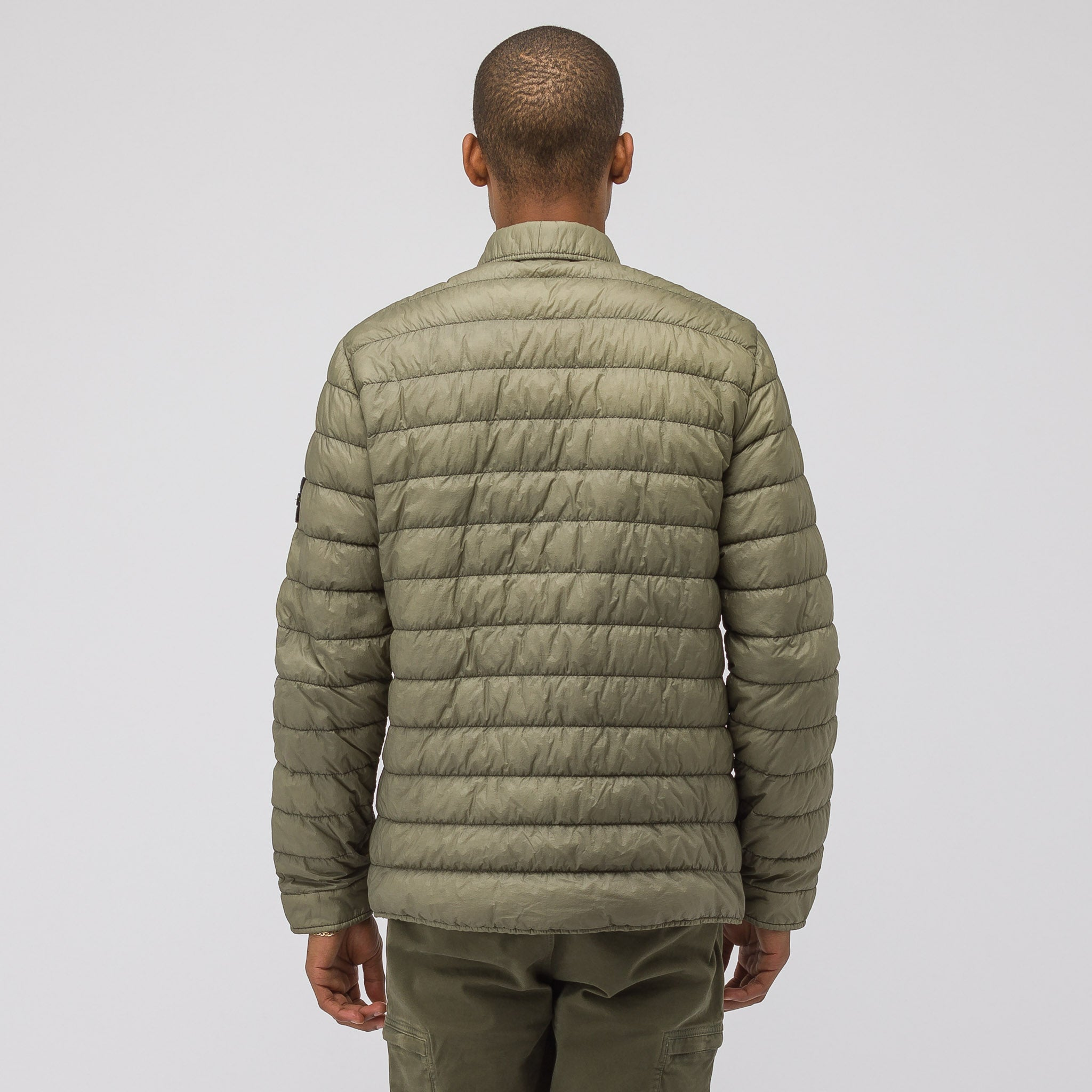Q0324 Garment Dyed Micro Down Packable Jacket in Olive