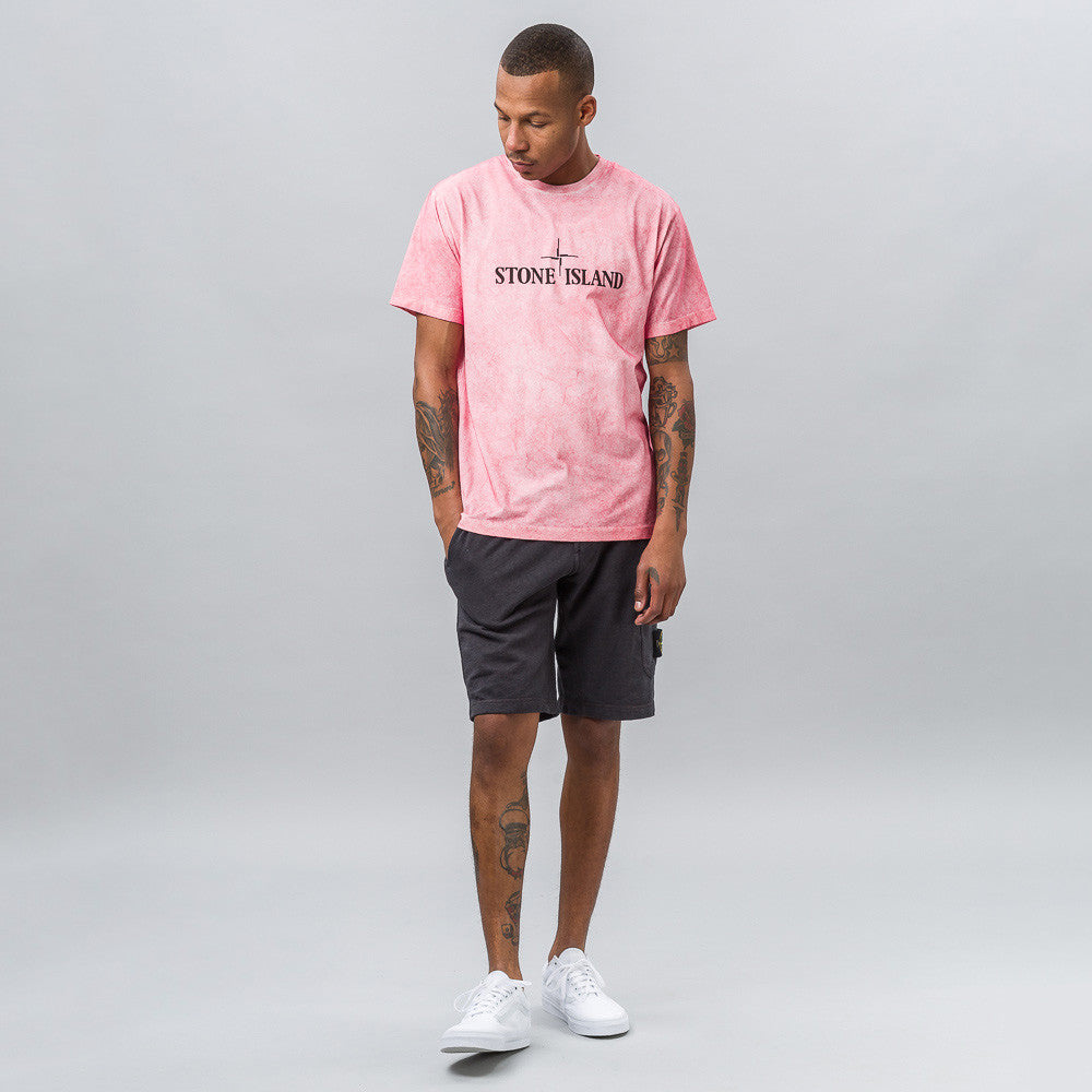 Stone Island Garment Washed T-Shirt in Faded Coral Notre 1