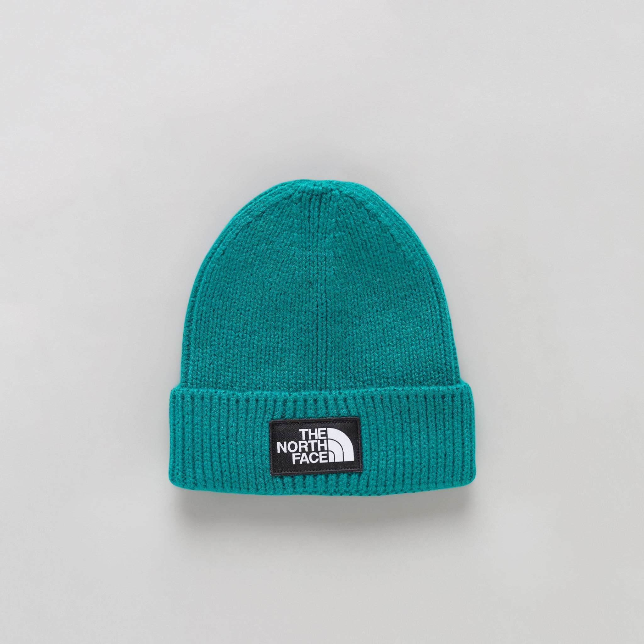 TNF Logo Box Cuffed Beanie in Everglade