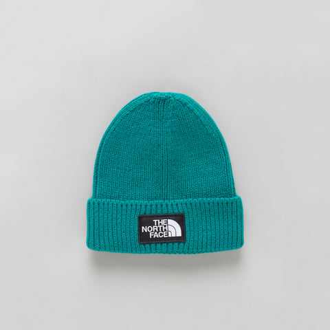 The North Face TNF Logo Box Cuffed Beanie in Everglade - Notre