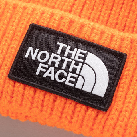 The North Face TNF Logo Box Cuffed Beanie in Persian Orange - Notre