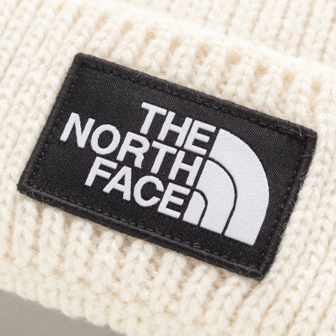 The North Face TNF Logo Box Cuffed Beanie in Vintage White - Notre