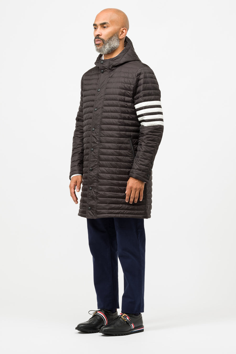 Thom Browne 4 Stripe Downfill Quilted Hooded Jacket in Black - Notre