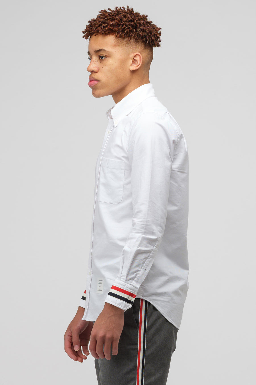 Thom Browne Button Up Long Sleeve Oxford Shirt in White - Notre