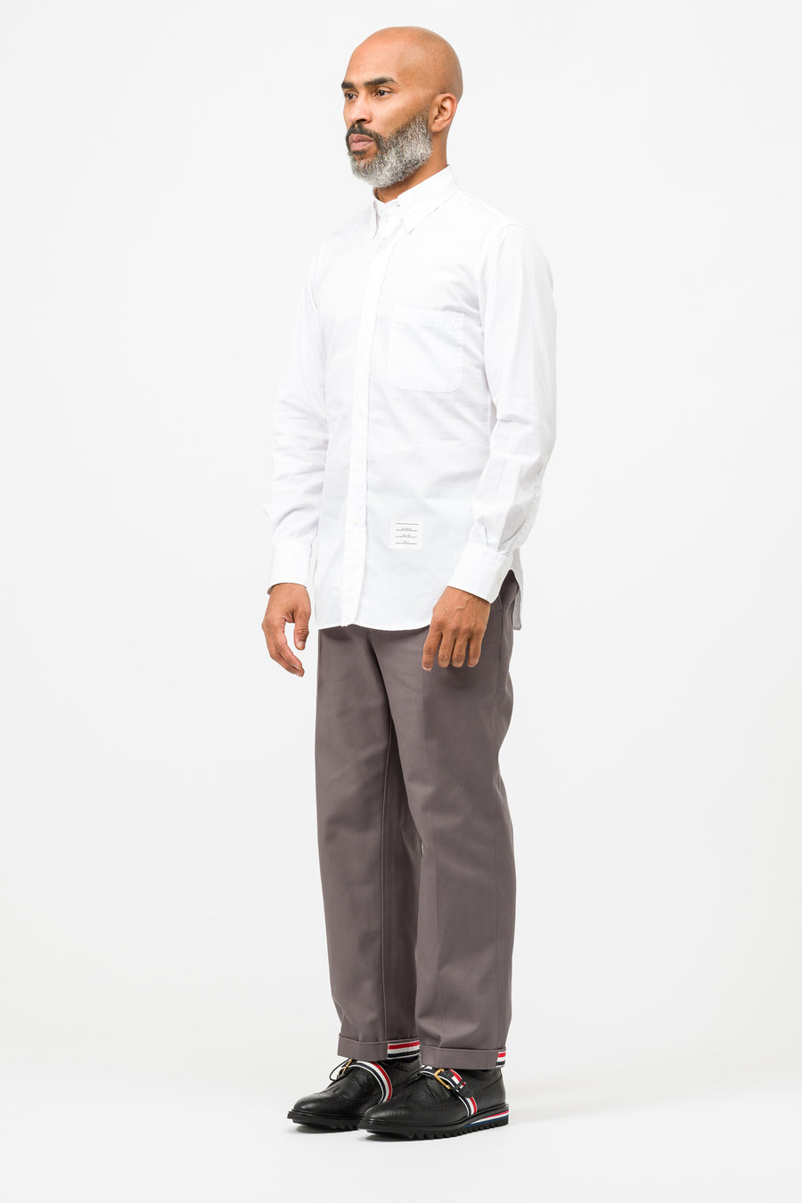 Thom Browne Classic Poplin BD PC L/S Shirt in White - Notre