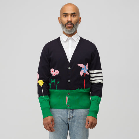 Thom Browne Gnome Scenery V-Neck Cardigan in Navy - Notre