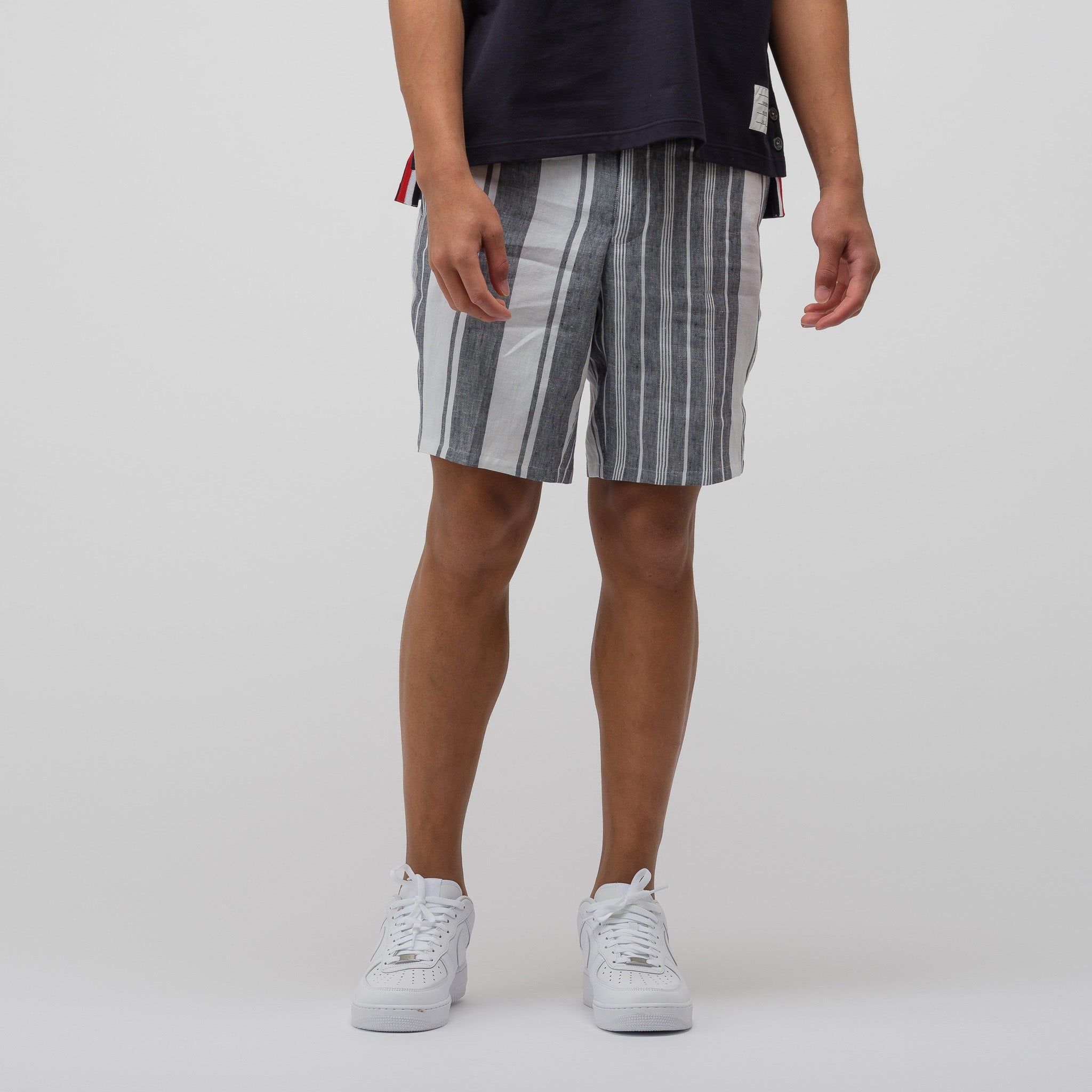 Unconstructed Short in Navy/White